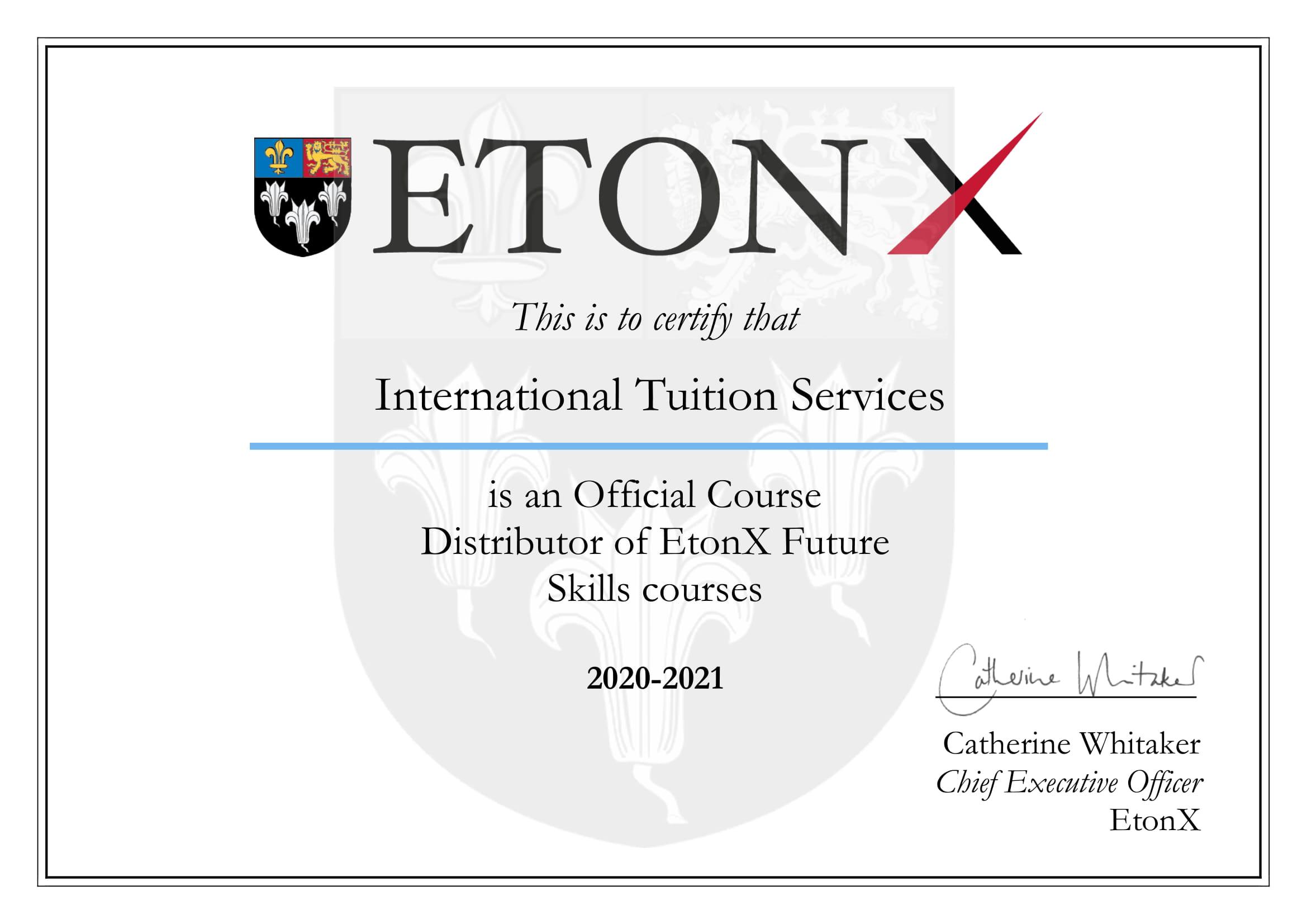 EtonX Certificate